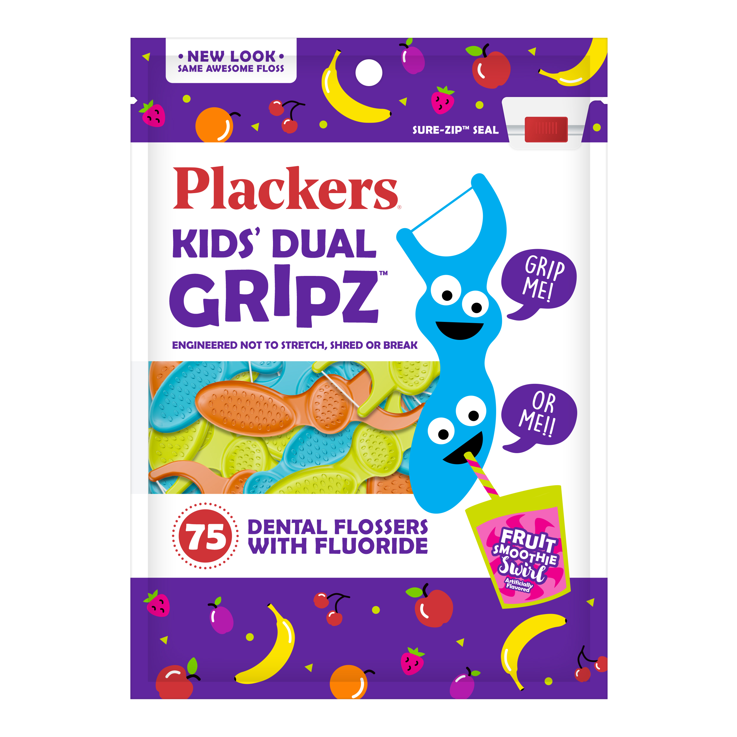 (4 Pack) Plackers Kids Dental Floss Picks, Fruit Smoothie Swirl with  Fluoride, Dual Grip - 75 Count