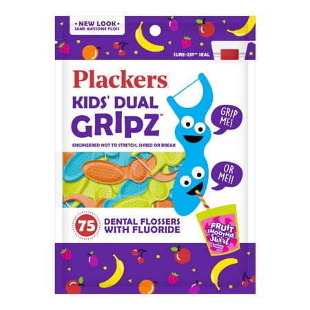 - (4 Pack) Plackers Kids Dental Floss Picks, Fruit Smoothie Swirl with Fluoride, Dual Grip - 75 Count