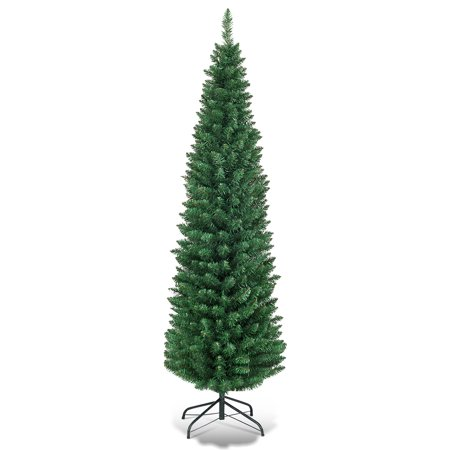 Costway 5Ft6Ft7Ft9Ft PVC Artificial Pencil Christmas Tree Slim Green ()