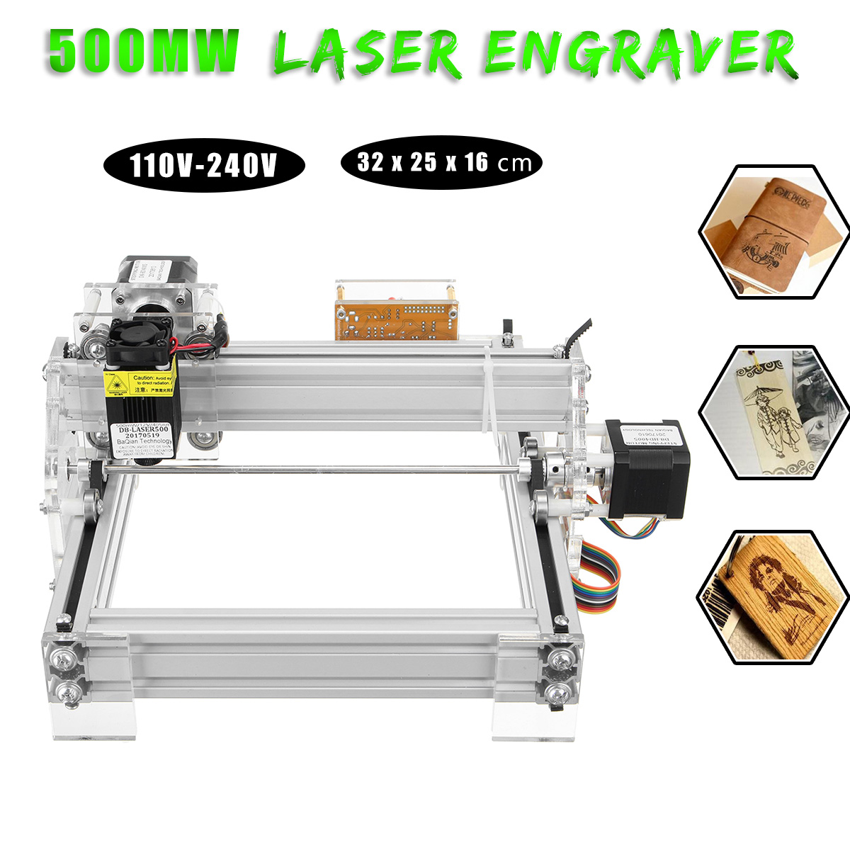 500mw DIY USB Laser Engraving Marking Machine Paper Wood Cutter Printer Engraver 2 Axis 2 Phase 4 Wire Laser Engraving Machine