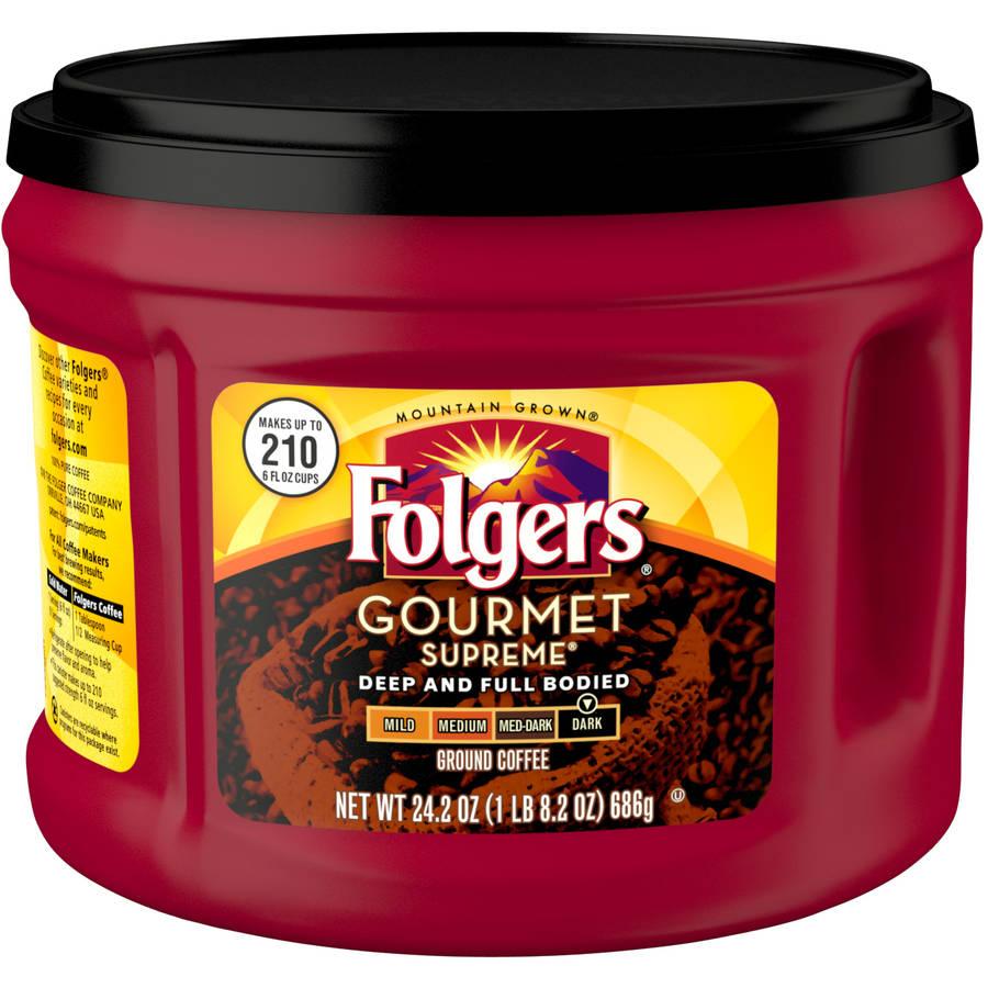 Folgers Gourmet Supreme Dark Roast Ground Coffee, 24.2 oz