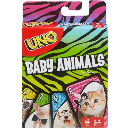 UNO Baby Animals Matching Card Game for 2-10 Players Ages 7Y+ ()