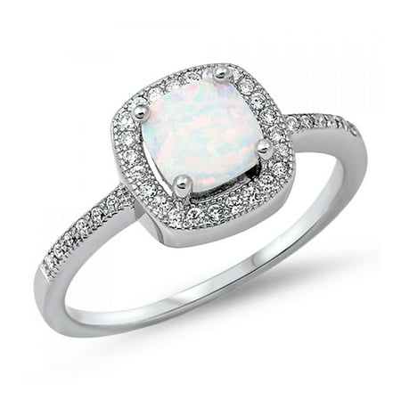 - 925 Sterling Silver Lab opal Gem Ring