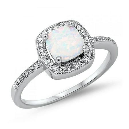 925 Sterling Silver Lab opal Gem Ring