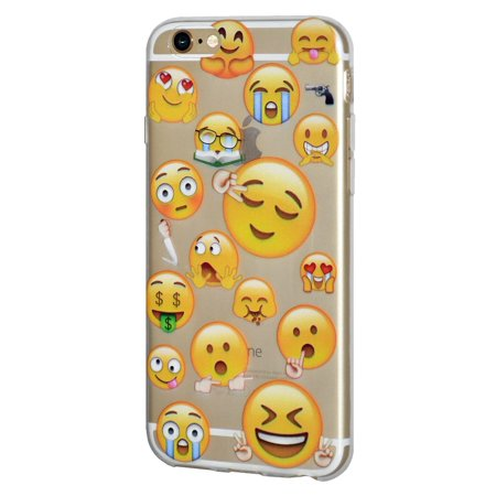 Soft Gel Crystal Clear Transparent Emoji TPU Skin Case Cover for iPhone 6, iPhone 6s - Different Emotions Sleepy
