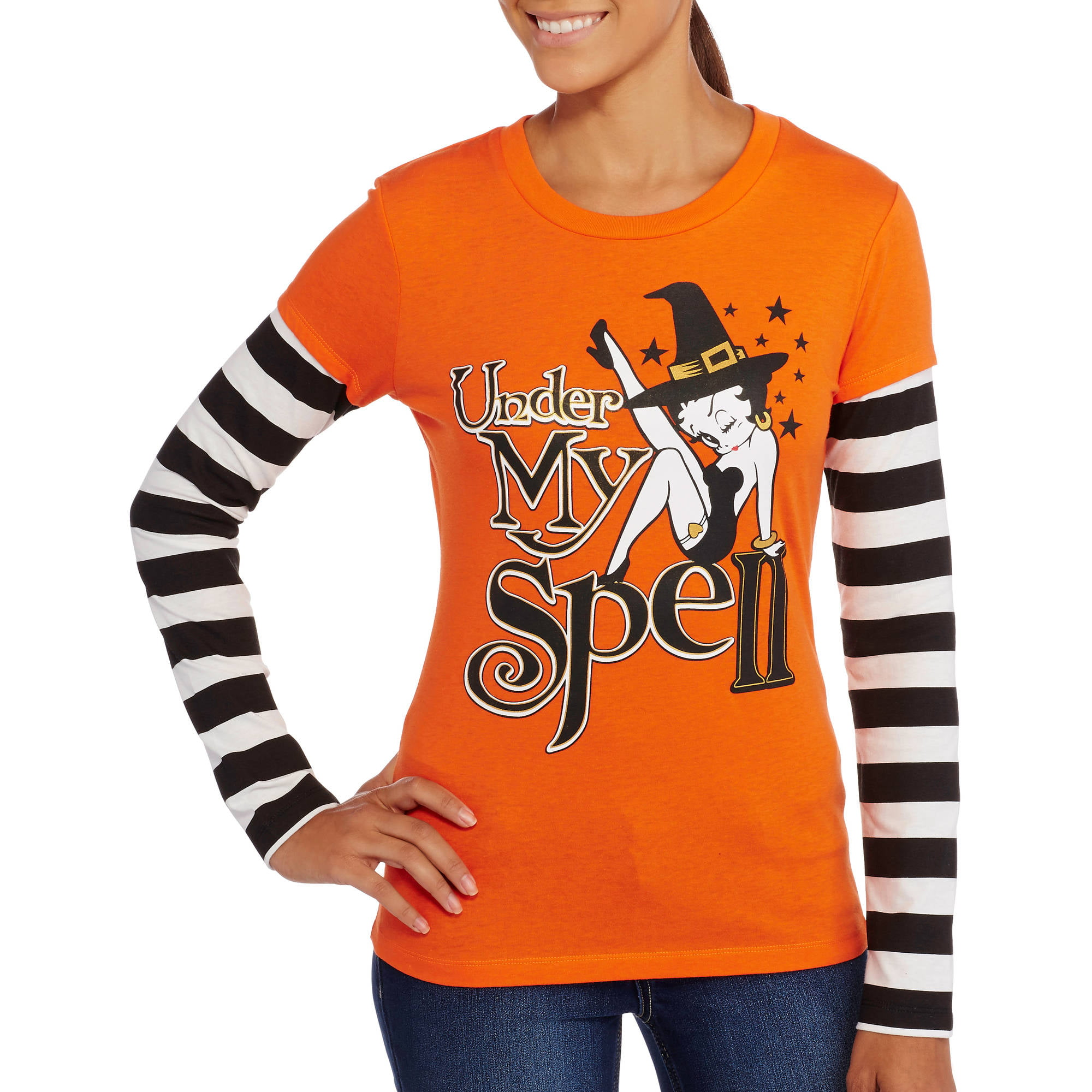 betty boop - betty spell - juniors' - halloween 2fer graphic tee