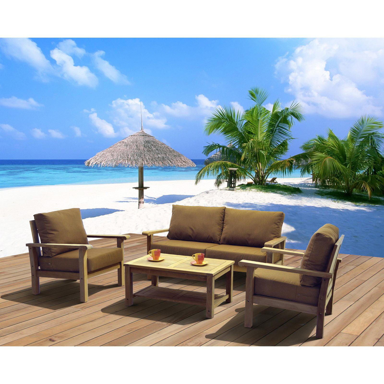 Amazonia St. Peter Teak Deep Seat Conversation Set with Sunbrella Cushions - Seats 4