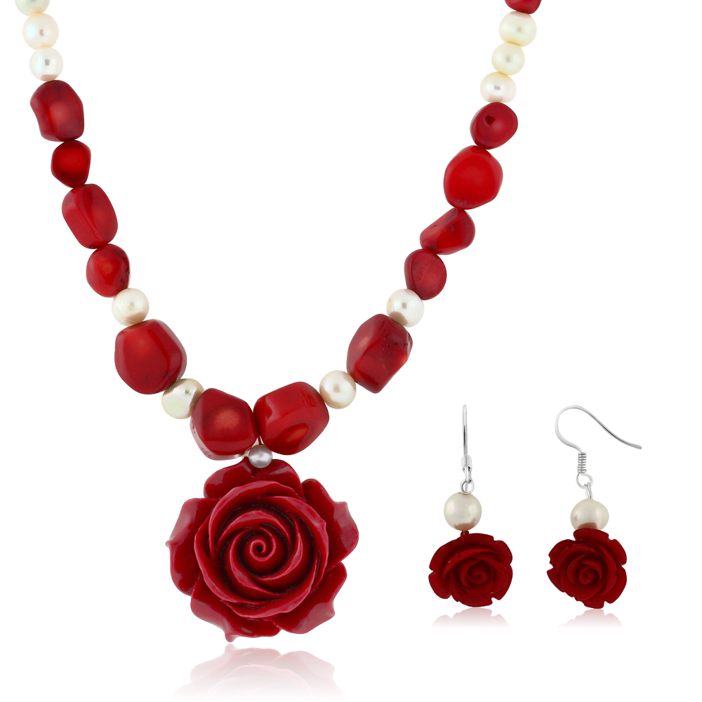 "18"" Simulated Red Coral Cultured Freshwater Pearl Carved Rose Necklace + Earring by"