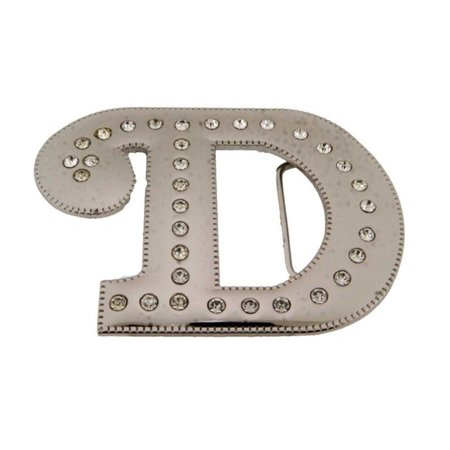 Big Initial D Letter Alphabet Belt Buckle Western Cowboy Rodeo Gold Silver Shiny ()