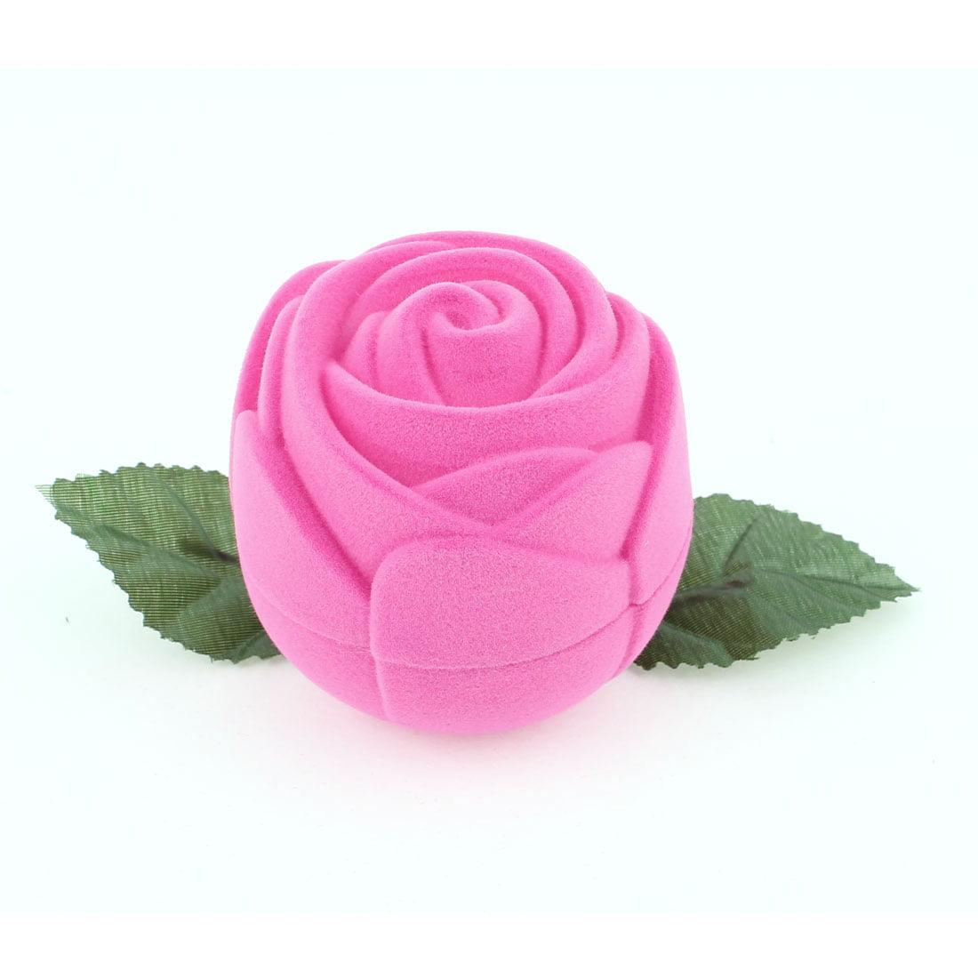 flannel coated rose shape jewelry storage wedding ring holder case