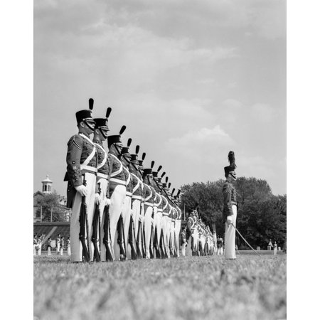 1940s A Row Of Uniformed Military College Cadets At Dress Parade Chester Pennsylvania Print By Vintage - Pennsylvania Halloween Parades