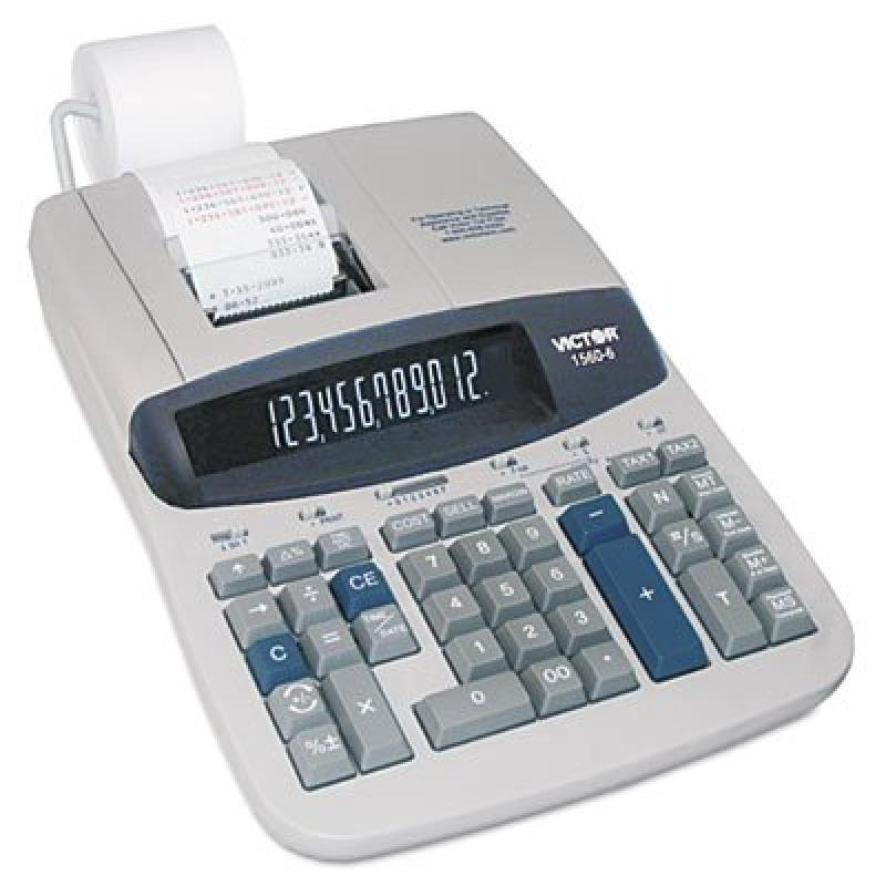 "12-Digit Calculator,2-Clr Printing,8-3/4""""x12-1/2""""x2-3/4"""",GY, Sold as 1 Each"