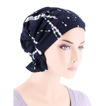 Scarf Tie Slide (Turban Plus The Abbey Cap ® Womens Chemo Hat Beanie Scarf Turban for Cancer Blended Knit Tie-Dye Blue )