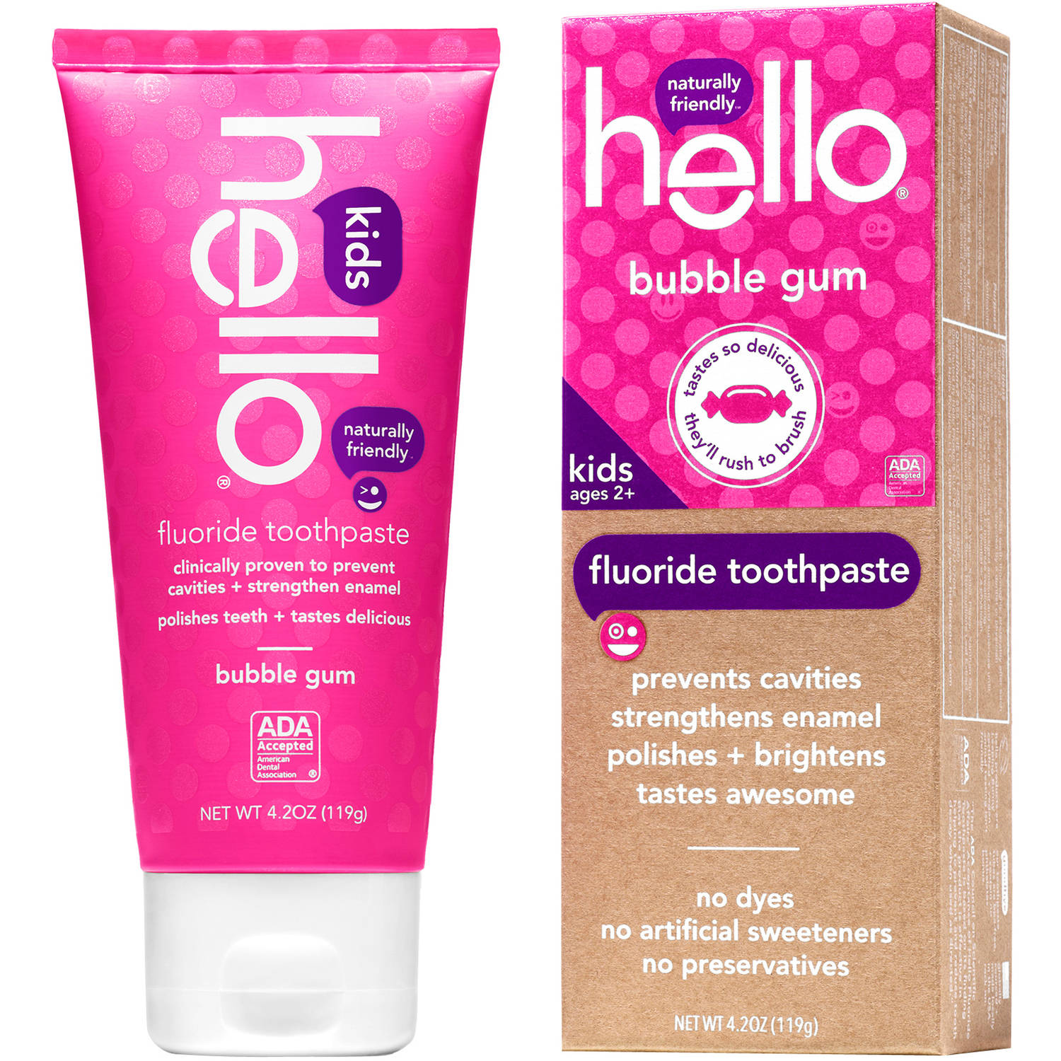 (2 Pack) Hello Naturally Friendly Bubble Gum Kids Fluoride Toothpaste, 4.2 oz