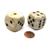 Chessex Marble 30mm Large D6 Dice, 2 Pieces - Ivory with Black Pips #DM3092