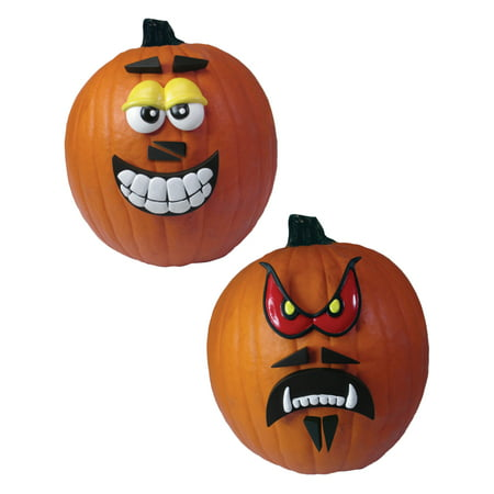Yellow And Red Crazy Faces Pumpkin 12 Piece Kit Halloween Decoration - Poker Face Halloween Decorations