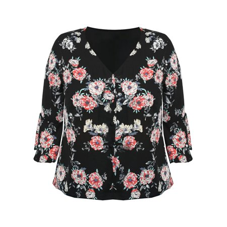 Luxury Cowl Neck Top - Black Floral Womens Plus Size V-Neck Blouse With Bell Sleeves
