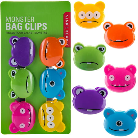 Kikkerland Set Of 12 Bag Clips Chips Snack Bread Plastic Paper Cute Food Storage - Halloween Snack Food Ideas