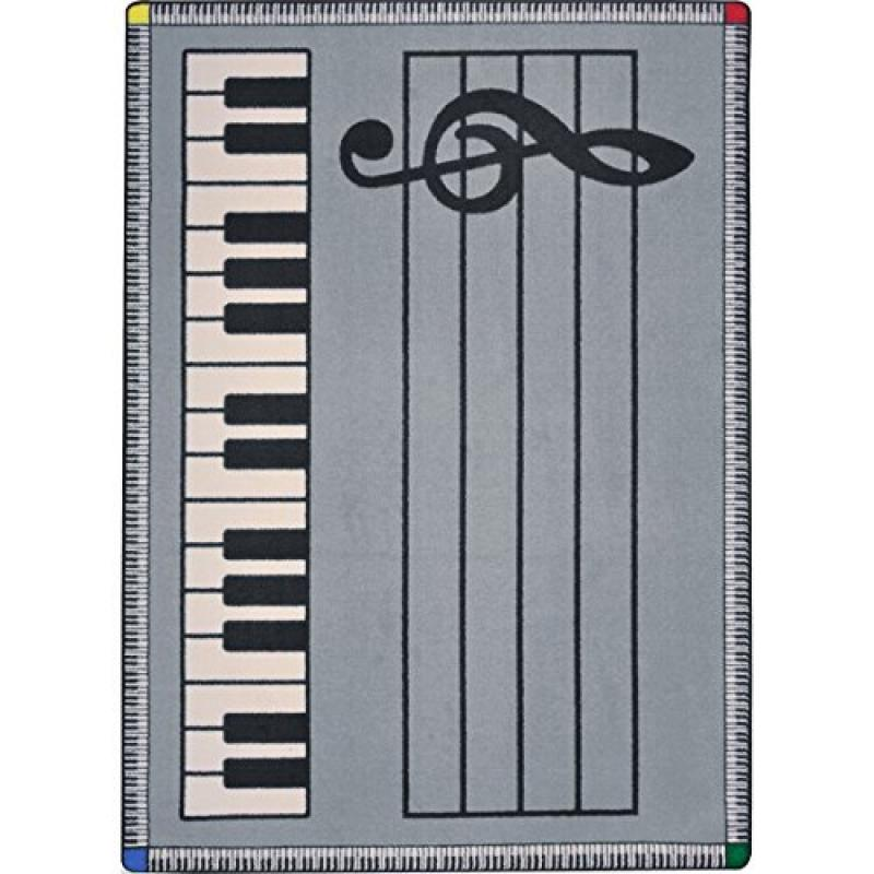Joy Carpets Kid Essentials Music & Special Needs Play Along Rug, Gray with Keys, 5'4 x 7'8