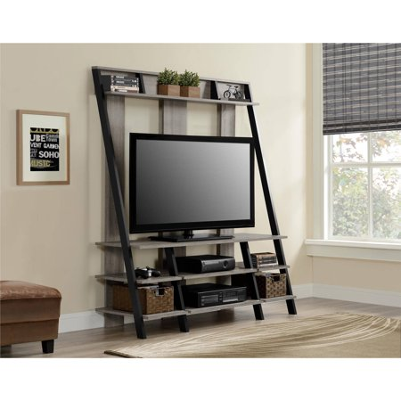 Ameriwood Home Dunnington Ladder Style Home Entertainment Center  Distressed Gray Oak