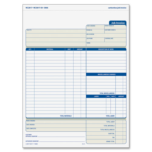Adams Business Forms Job Invoice Forms, 2-Part, Corbels, 8-1/2''x11-7/16''