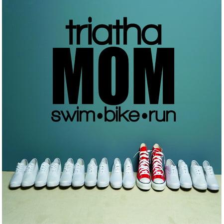 - Custom Wall Decal Triatha Mom Swim Bike Run Sports Quote Army Fighting War Soldier Gun Silhouette Sticker Vinyl Wall 16x16