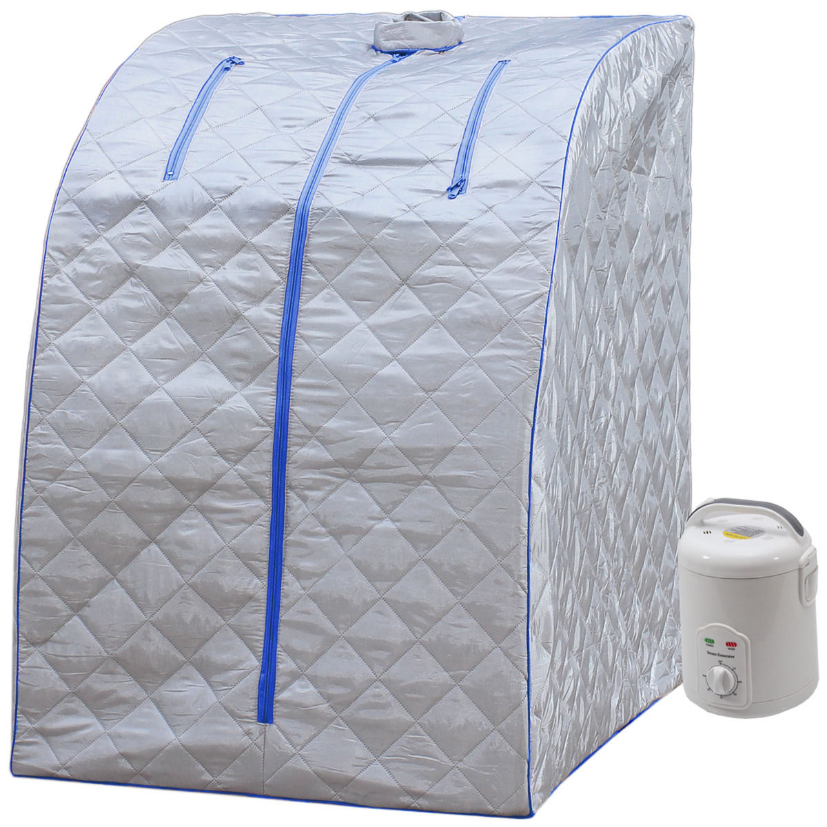 Durherm Portable Lightweight SPA Home Radiant Steam Sauna Blue Trim by