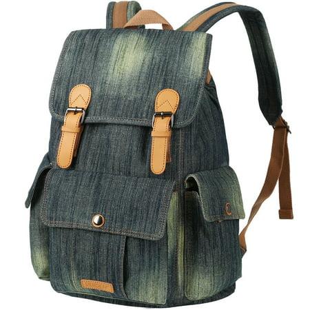 Vbiger Women Denim Backpack Purse School Bookbag for Teenager Girls Vintage Travel Rucksack Jeans Bag Stonewash College Student (Best Bookbag For College)