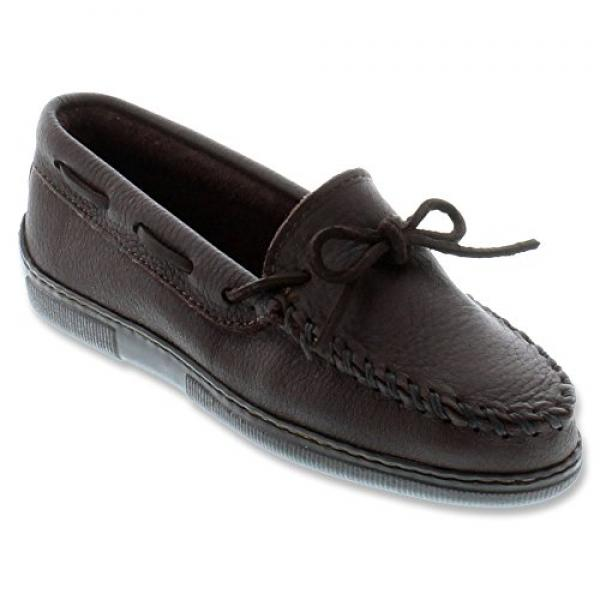 Minnetonka Women's Moosehide Classic Moccasins Wide Chocolate 7 1 2 W US by