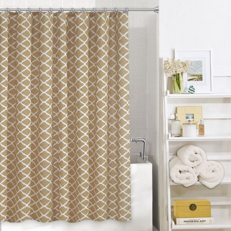 Home Classics Misha Latte Tan Trellis Fabric Shower Curtain Bath Decor