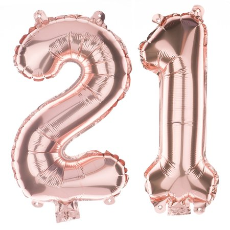 Ella Celebration 21 Party Balloons for 21st Birthday, Decoration Ideas and Party Supplies (40 Inches, Rose Gold)