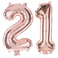 Non-Floating 21 Number Balloons 21st Birthday Party Supplies Decorations Small 13 Inch (Rose Gold)