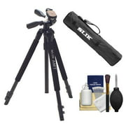 Slik 330 DX Pro Series Black Tripod 3Way Pan/Tilt Head & Quick Release with Tripod Case + Cleaning Kit