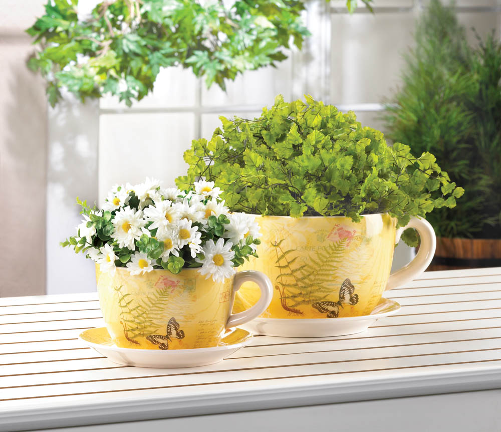 Butterfly Dolomite Tea Cup Planter 4 5 Inches Walmart Com