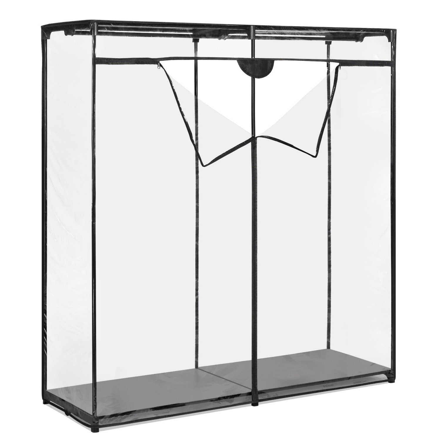 "Whitmor Extra Wide 60"" Clothes Closet - Freestanding Garment Organizer with Clear Cover"