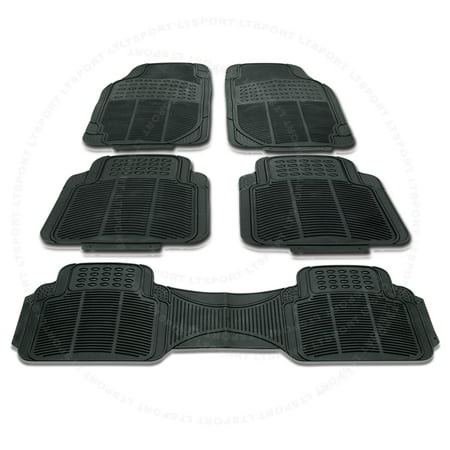 Plymouth Rubber - Fit 92-00 PLYMOUTH VOYAGER 5PC CAR/VAN/SUV 3-ROW SEAT BLACK RUBBER FLOOR MAT COMBO Fit Dodge Avenger Caliber Challenger