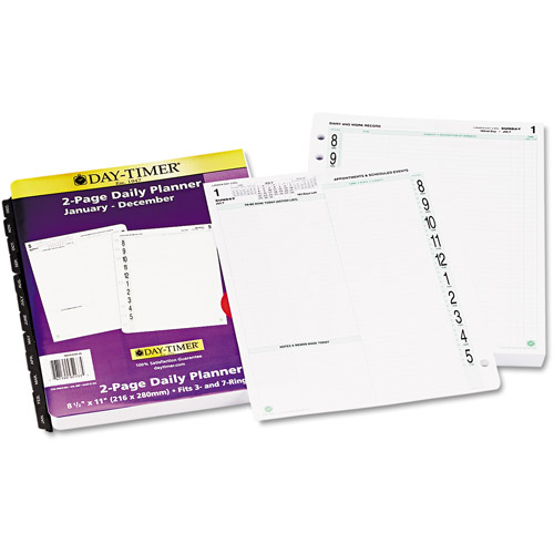 "Day-Timer Original Dated 2-Page-per-Day Organizer Refill, January-December, 8.5"" x 11"", 2014"