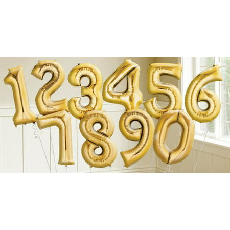 Happy Birthday With Balloons (16inch Foil Number Balloons Happy Birthday Party Ballon Gold / Silver / Rose Gold)