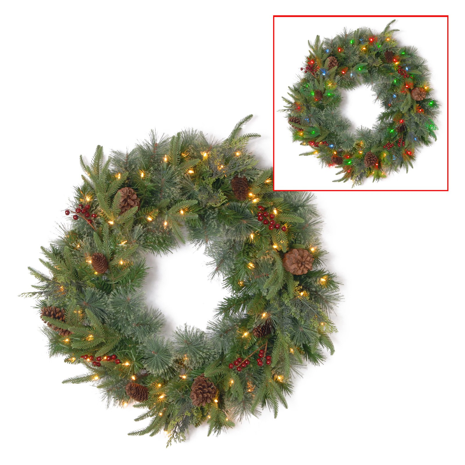 "24"" Colonial Wreath with Battery Operated Dual Color LED Lights"