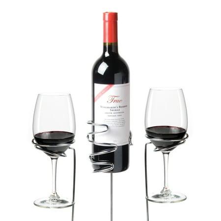 Wine Sticks Glass and Bottle Holder, 3 Piece - Stock Glass