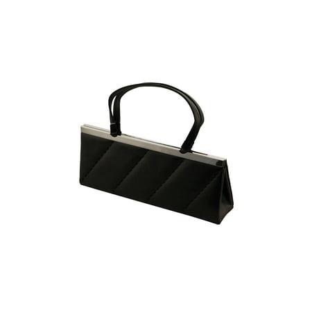Ink Fabric Handbags (Elegant Evening Women Handbag - Black Soft Satin Fabric Party Shoulder Bag for Girls)