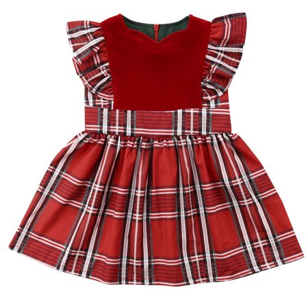 Baby Kid Girls Sleeveless Red Plaid Christmas Party Pageant Dress Outfits 3-4 Year](Christmas Dresses For Children)
