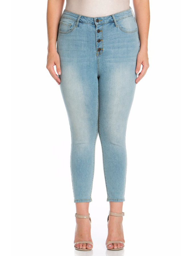 Juniors' Plus Size Light Wash High Rise Skinny Jeans with Exposed Buttons