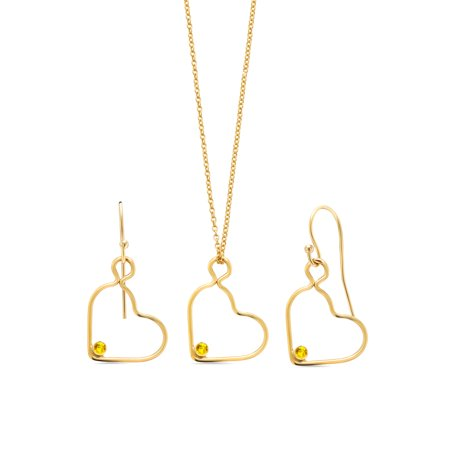 0.15 Ct Round Yellow Sapphire 14K Gold Filled Heart Pendant Earrings Set With Chain