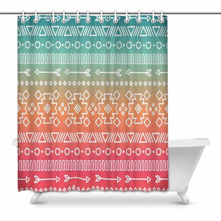 MKHERT Colorful Aztec Bathroom Shower Curtain 60x72 Inch
