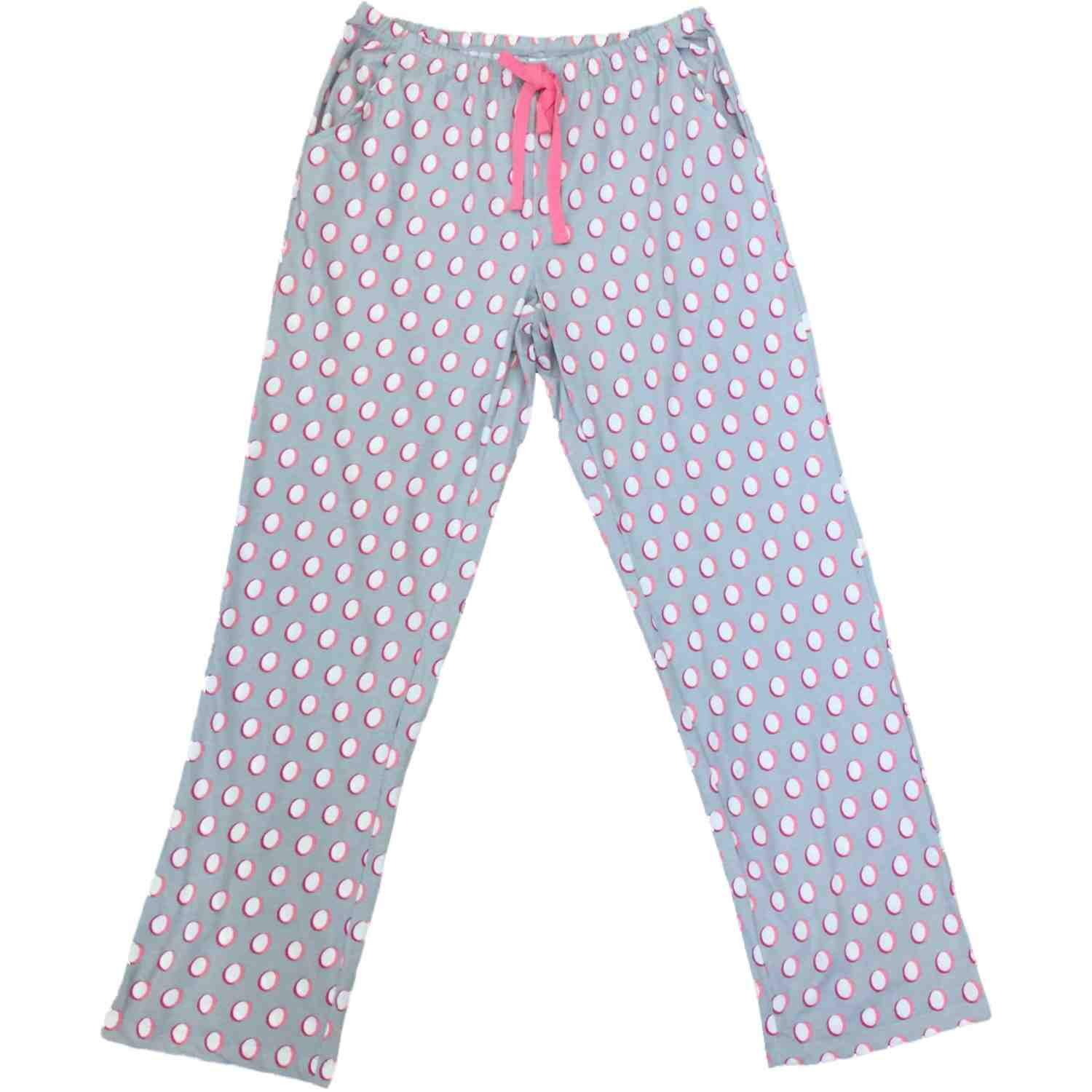 Womens Gray White Pink Polka Dot Sleep Pants Dotted Pajama