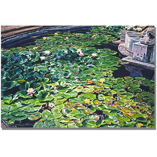 "Trademark Art ""Waterlillies Huntington"" Canvas Wall Art by David Lloyd Glover"