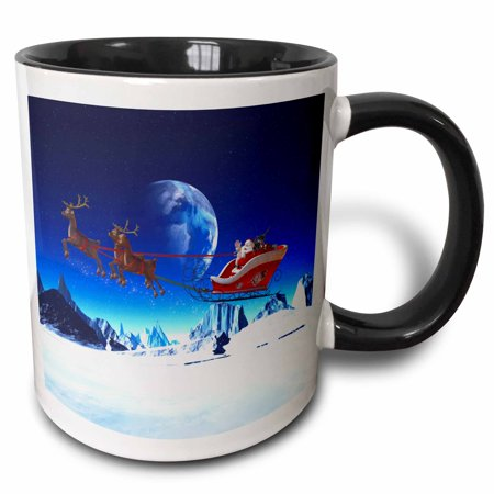 3dRose Santa Claus is flying in his sleigh and his reindeer in the night - Two Tone Black Mug, -