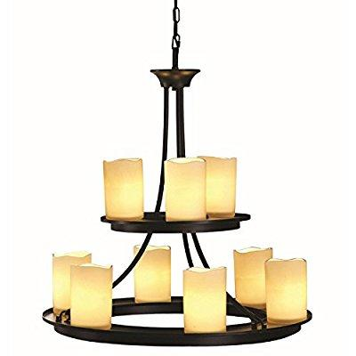 contemporary allen + roth 9-light oil rubbed bronze chand...