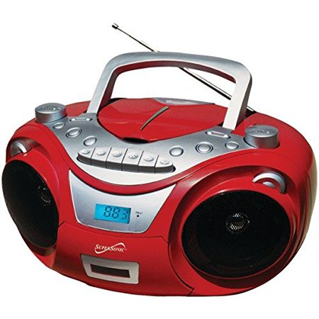 Supersonic SC-709RED Sc-709 Red Portable Mp3 & Cd Player With Cassette Recorder & Am fm Radio [red] by